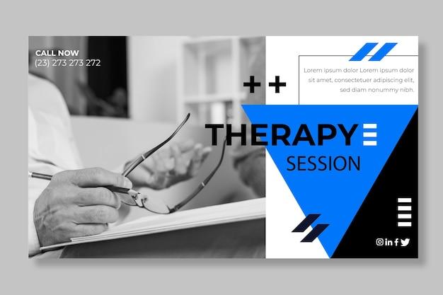 Plantilla de banner de sesiones de terapia