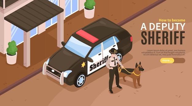 Plantilla de banner de sheriff isométrica