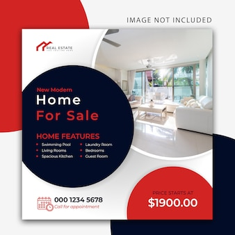 Plantilla de banner de sitio web y publicación inmobiliaria moderna