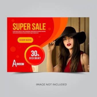 Plantilla de banner de super venta, cupón de descuento del 30%.