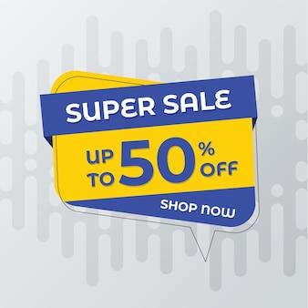 Plantilla de banner de super venta. diseño de etiquetas vectoriales para promoción de descuento.