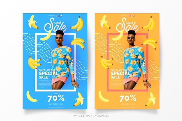 Plantilla de banner de super venta con plátanos