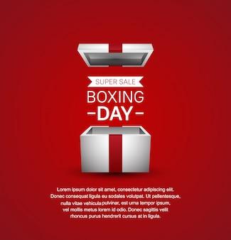Plantilla de banner de super venta para la venta del día del boxeo