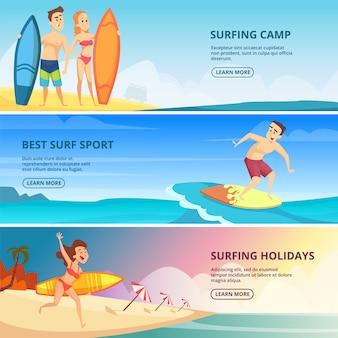 Plantilla de banner de surf con ilustraciones. personas surfistas