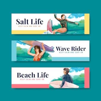 Plantilla de banner con tablas de surf en la playa.