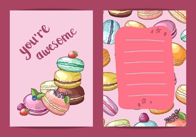 Plantilla de banner de tarjeta de cumpleaños con ilustración de macarrones dibujados a mano de colores