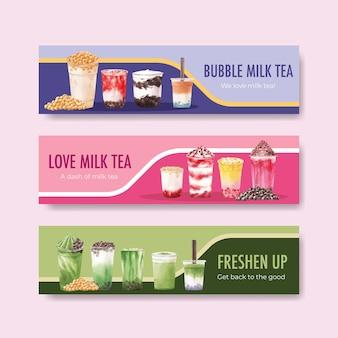 Plantilla de banner con té de leche de burbujas