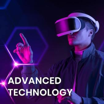 Plantilla de banner de tecnología avanzada con hombre con fondo de realidad virtual