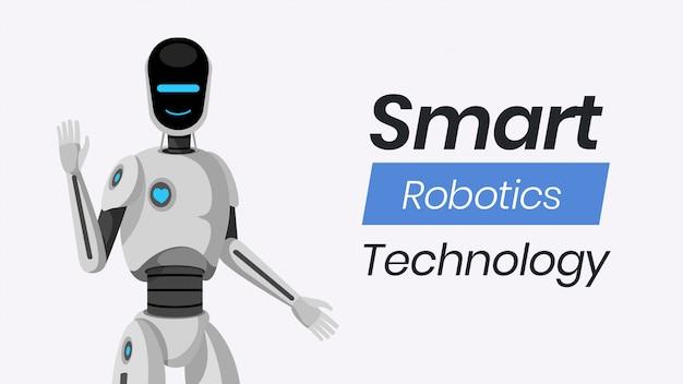 Plantilla de banner de tecnología robótica inteligente.
