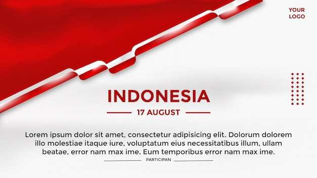 Plantilla de banner de tema del día de la independencia de indonesia