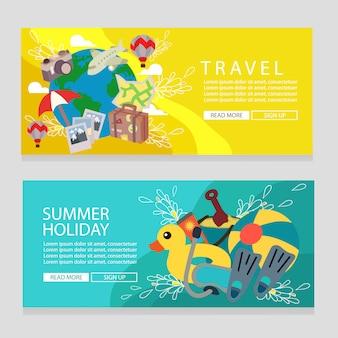 Plantilla de banner de tema de viaje de vacaciones de verano con ilustración de vector de estilo plano