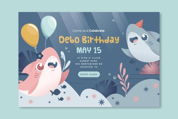 Plantilla de banner de tiburón de cumpleaños para niños