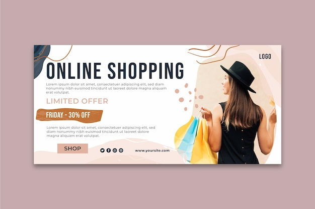 Plantilla de banner de tiempo de compras en línea