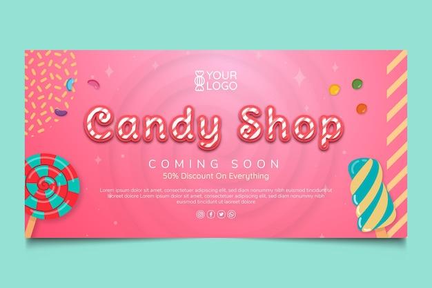 Plantilla de banner de tienda de dulces