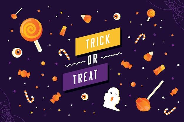Plantilla de banner de truco o trato de halloween con patrón de caramelo