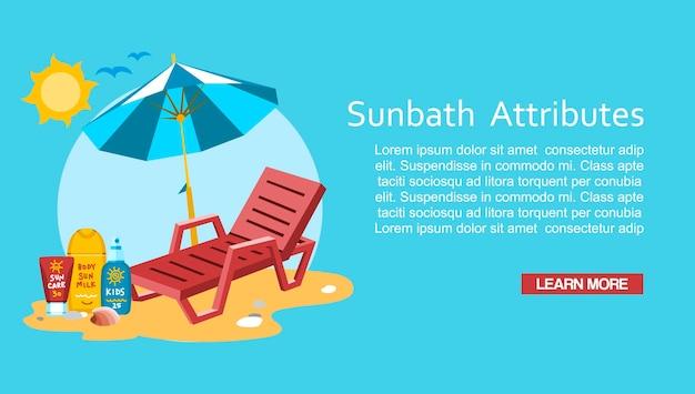 Plantilla de banner de vacaciones de vacaciones de verano sunbath