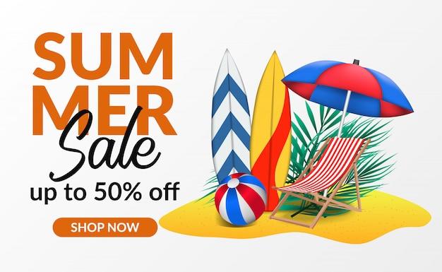 Plantilla de banner de vacaciones de verano con isla de tabla de surf de ilustración