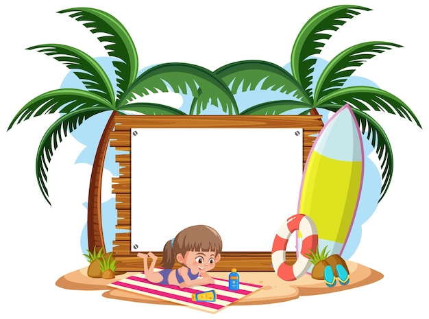 Plantilla de banner vacío con carácter de niños en vacaciones de verano en la playa sobre fondo blanco
