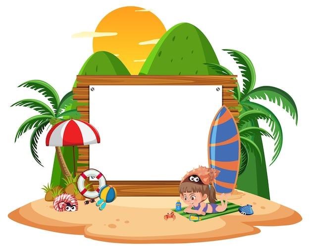 Plantilla de banner vacío con niños de vacaciones en la playa sobre fondo blanco.