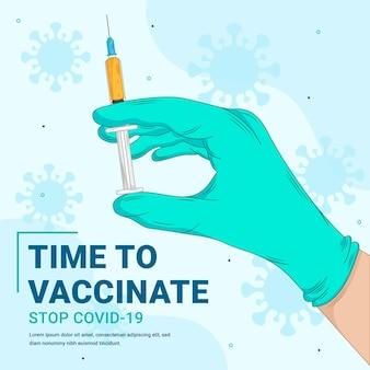 Plantilla de banner de vacuna covid-19 dibujada a mano