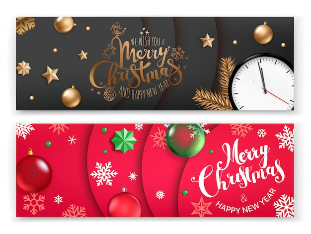 Plantilla de banner vectical de navidad, feliz navidad y feliz año nuevo