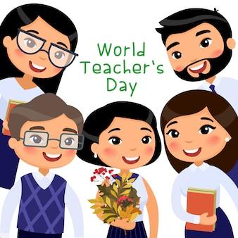 Plantilla de banner de vector plano del día mundial del maestro.