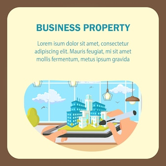 Plantilla de banner de vector plano de propiedad de negocios.