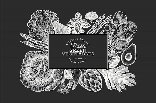 Plantilla de banner de vegetales verdes dibujados a mano.