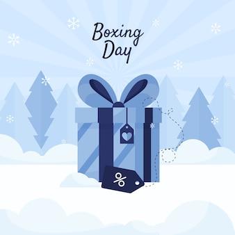 Plantilla de banner de venta de boxing day. azul