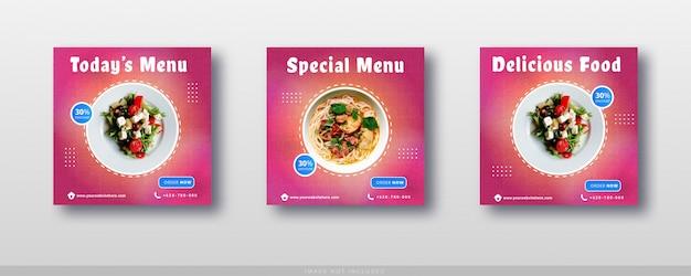 Plantilla de banner y venta de comida de instagram de redes sociales