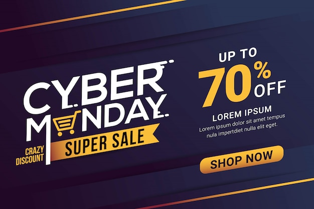 Plantilla de banner de venta de cyber monday