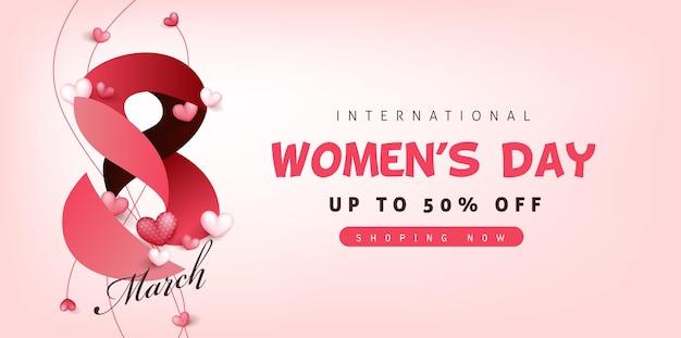 Plantilla de banner de venta del día internacional de la mujer. 8 de marzo.