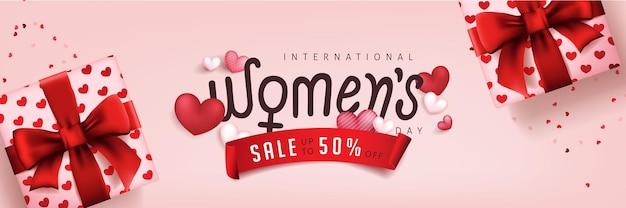 Plantilla de banner de venta del día internacional de la mujer.