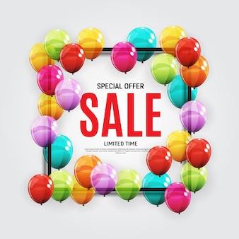 Plantilla de banner de venta de diseños abstractos con globos.