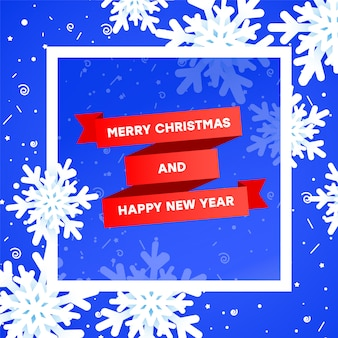 Plantilla de banner de venta de feliz navidad con elemento de navidad. cinta roja degradada, realistas copos de nieve 3 d en un azul con un marco blanco.