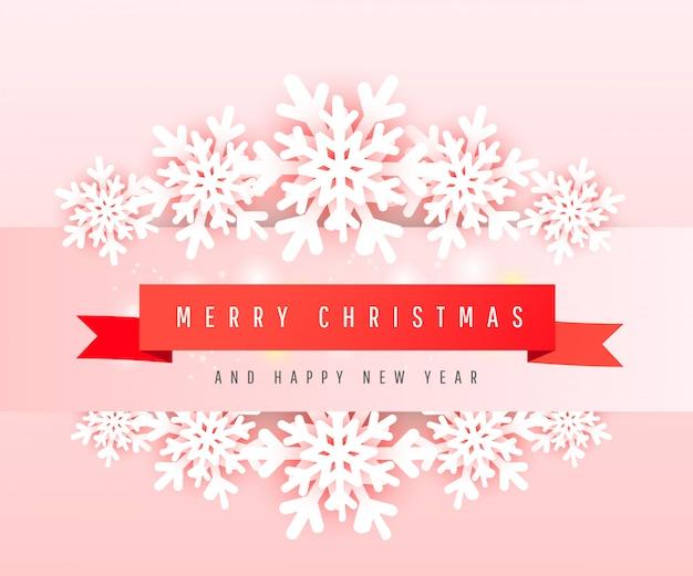 Plantilla de banner de venta feliz navidad y feliz año nuevo con copos de nieve de papel cortado y texto de letras en una cinta roja. tarjetas de felicitación horizontales.