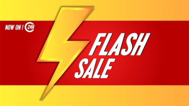 Plantilla de banner de venta flash con trueno