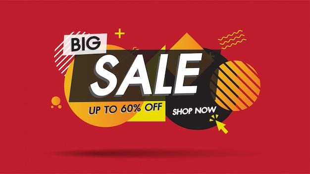 Plantilla de banner de venta con forma abstracta geométrica con 60% descuento especial de gran venta