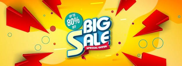 Plantilla de banner de venta, gran venta especial hasta 80% de descuento