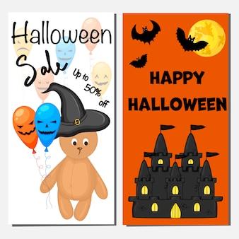 Plantilla de banner de venta de halloween. estilo de dibujos animados