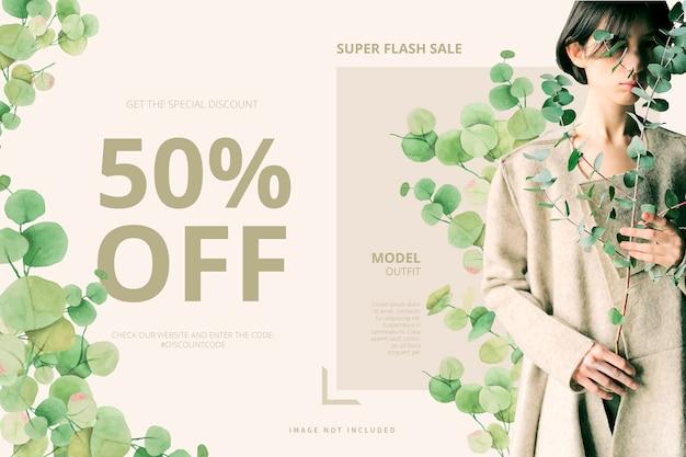 Plantilla de banner de venta con hojas de acuarela