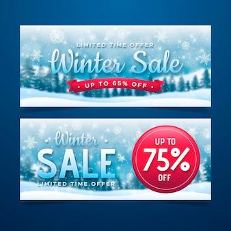 Plantilla de banner de venta de invierno de copos de nieve y árboles