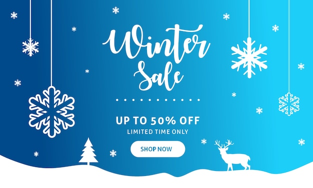 Plantilla de banner de venta de invierno