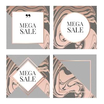 Plantilla de banner de venta mega con marco de moda