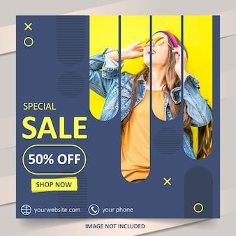 Plantilla de banner de venta de moda de redes sociales azul