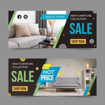 Plantilla de banner de venta de muebles degradados con foto