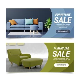 Plantilla de banner de venta de muebles degradados