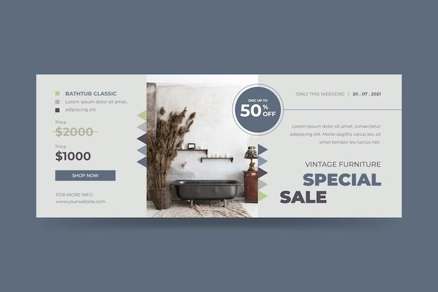 Plantilla de banner de venta de muebles planos orgánicos