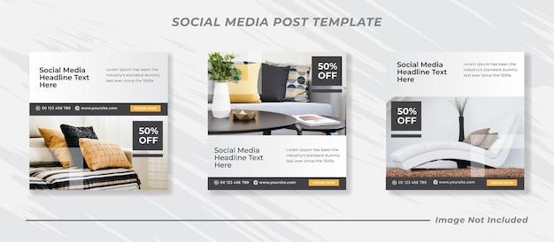 Plantilla de banner de venta de muebles de publicación de feed de instagram de redes sociales