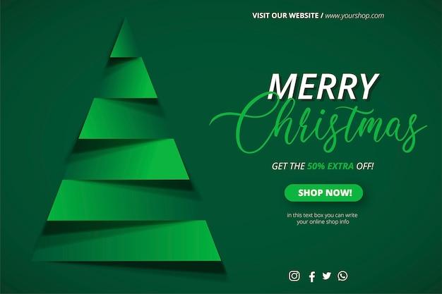 Plantilla de banner de venta de navidad con árbol de navidad de papercut